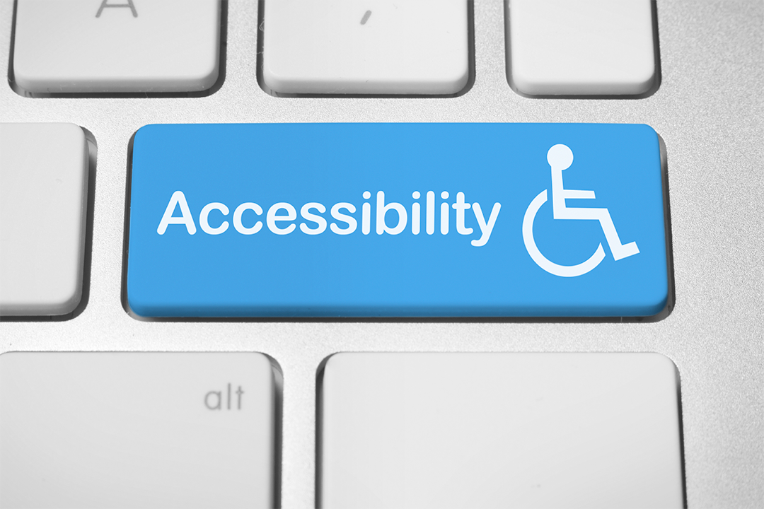 An image of a computer with the words Accessibility